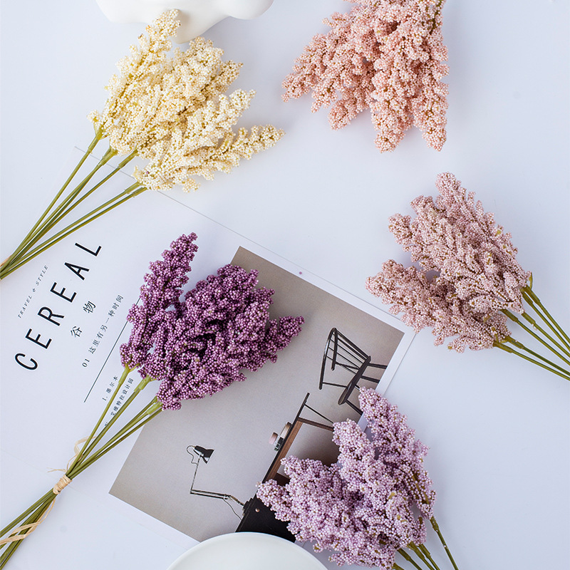 Supplies Faux Artificial Vanilla Spike Fake Flower Cereals Bouquet Plant Wall