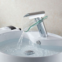 Waterfall Glass Bathroom Basin Chrome Mixer Tap Sink Faucet,hot and cold water tap,torneira para banheiro 1163C