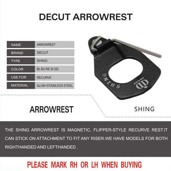 1 pçs decut shing seta magnética de alumínio resto tiro com a mão direita e esquerda para arco recurvo acessório