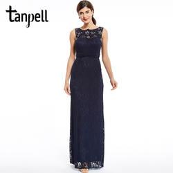 Tanpell/Новинка; платье подружки невесты; платье на молнии с бусинами; кружевное платье-футляр; темно-синее платье без рукавов; Длина до пола;