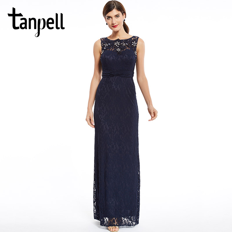 Tanpell newest   bridesmaid     dress   bateau zipper up beaded lace sheath   dress   dark navy sleeveless floor length   bridesmaid     dress