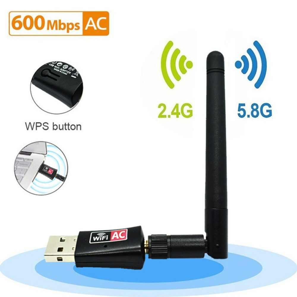 Przenośny Mini 600 Mbps 2.4G/5G Dual Band połączenia bezprzewodowy adapter USB odbiornik Wi-Fi klucz domu karta sieciowa dla PC Leptop