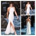 Emma Watson branco Side Dividir Bainha Sexy Vestidos Sem Mangas Chiffon Backless vestido de Noite Celebrity Dress Mulheres Verão Vestido de Festa