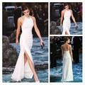 White Side Split Sheath Sexy Emma Watson Dresses Sleeveless Chiffon Backless Evening Celebrity Dress Women Summer Party Gown
