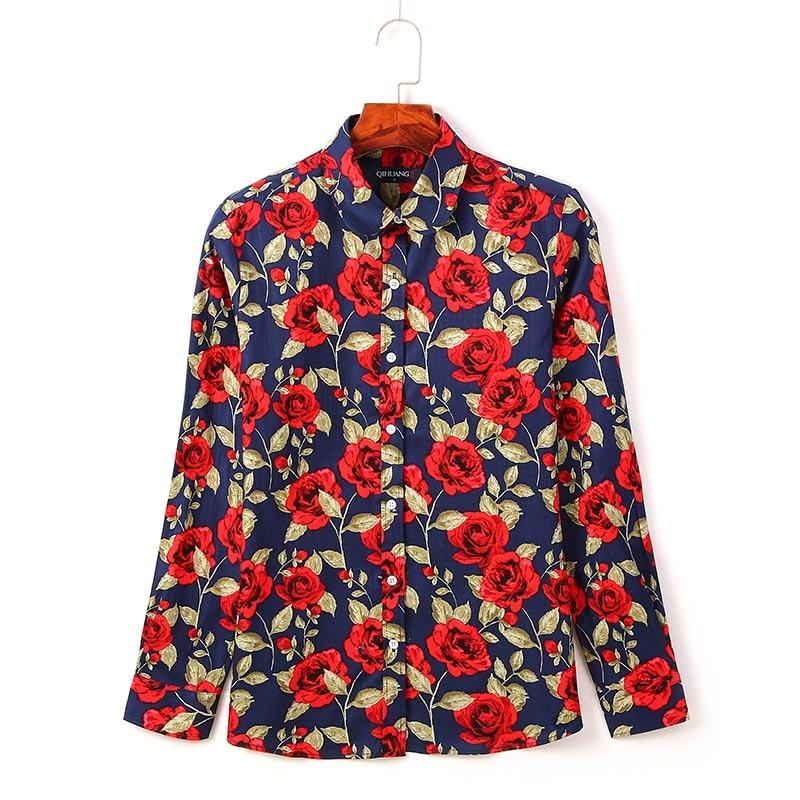 QIHUANG 2019 Fashion Women Shirts Cotton Floral Printed Blouses Women Long Sleeve Plus Size Shirts Casual Women 39 s Shirts in Blouses amp Shirts from Women 39 s Clothing