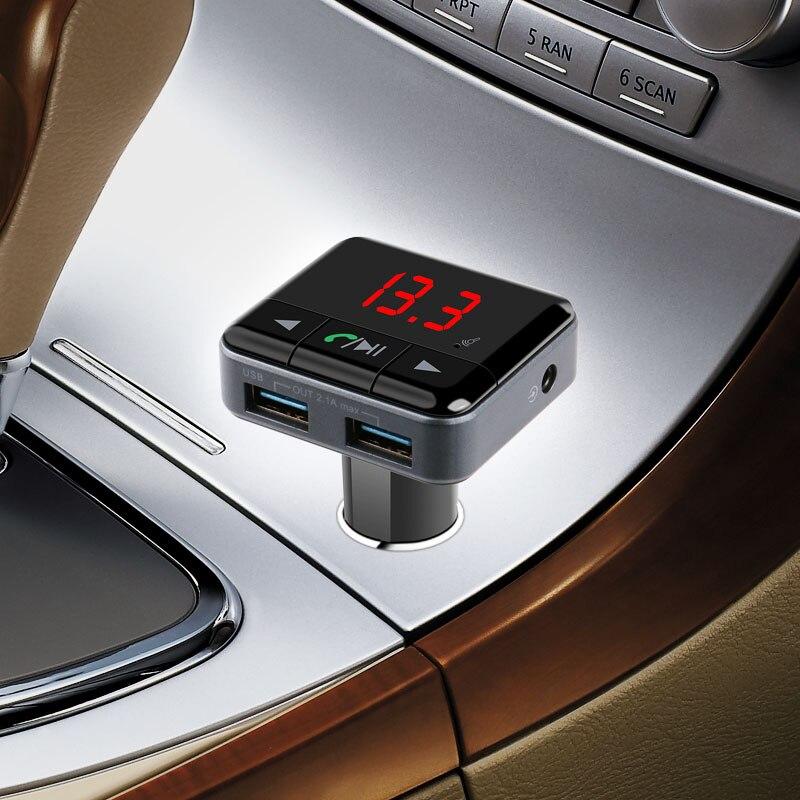 Ładowarka samochodowa app sterowania bezprzewodowy nadajnik fm odtwarzacz mp3 cyfrowy wyświetlacz led 5 v 2.1a wyjście audio bluetooth v4.1 dual usb