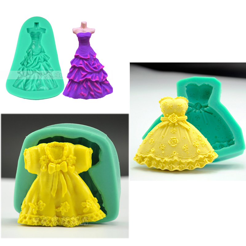 wedding dress Silicone Mould skirt chocolate mold Fondant cake Decorating Tool Baking cupcake toppers patisserie accessories