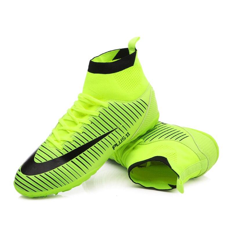 Haute cheville hommes chaussures de Football TF/FG/AG longues pointes d'entraînement bottes de Football chaussures résistantes crampons chaussures de Football pas cher - 4