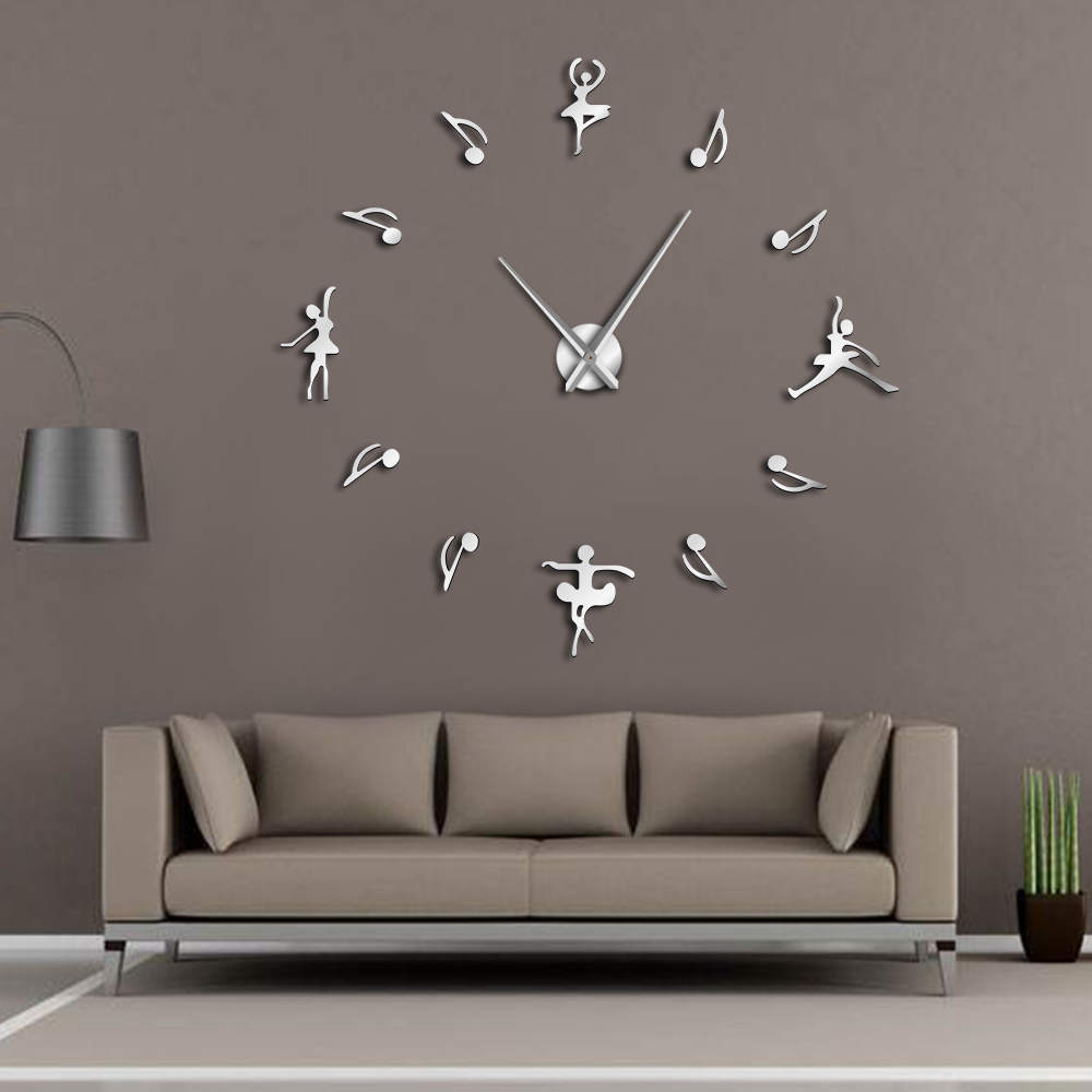 Ballerinas wall decor diy large wall clock ballet dancers music notes giant wall clock modern design ballet music lovers gift in wall clocks from home