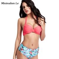 Minimalism Le 2018 Sexy Cross Bandage Bikini New Halter Top Women Swimwear Solid Swimsuit Patchwork Print
