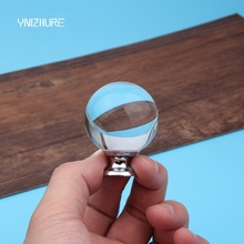 40mm 6pcs Smooth Ball Shape modern minimalist Top K9 Crystal ball round single hole Kitchen Closet door handle Drawer Cabinet