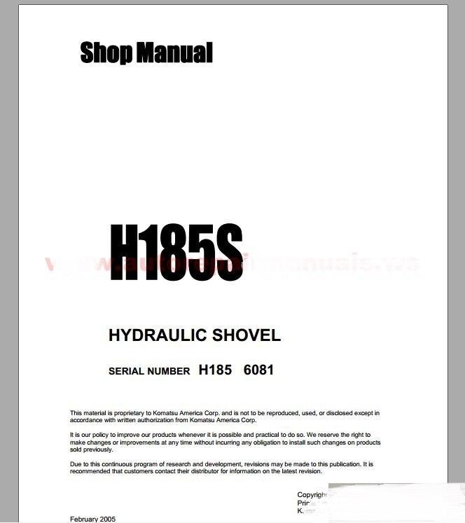 Komatsu Hydraulic Mining Shovels Shop Manual (ALL)