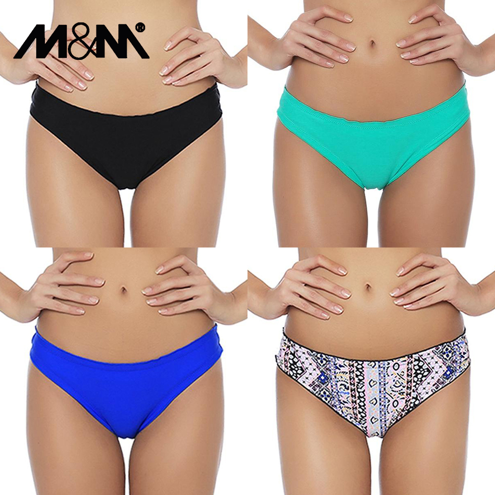 M&M 2019 Sexy Bikini Bottom Brazilian Women Swim Briefs Micro Chiffons Print Shorts Two-Piece Separates Swimwear Swimsuit B607