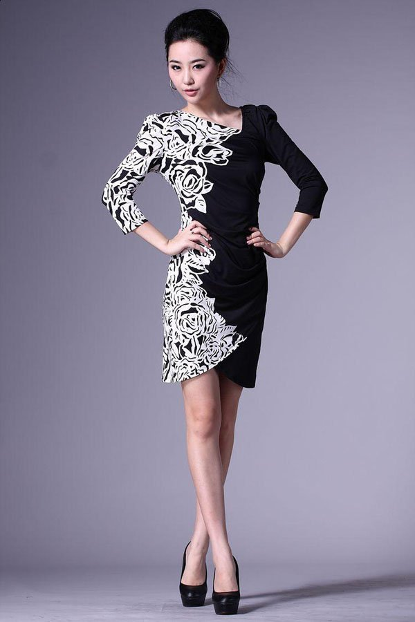 Fashion Nice Print Black White Flower Dress For Women With ...