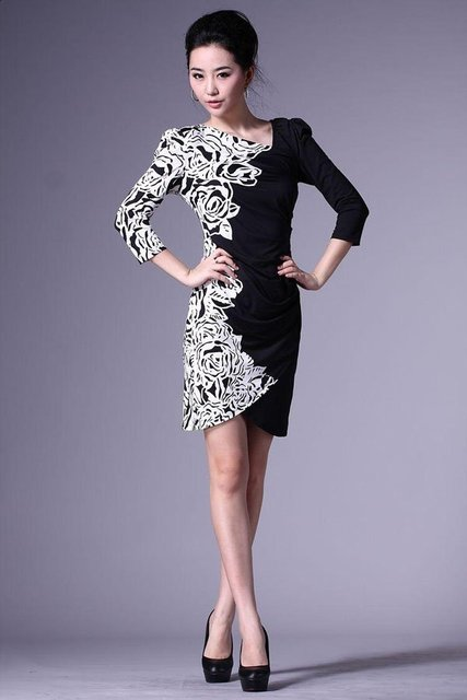 Fashion nice print black white flower dress for women with 3xl fashion nice print black white flower dress for women with 3xlcocktail party dress retail mightylinksfo