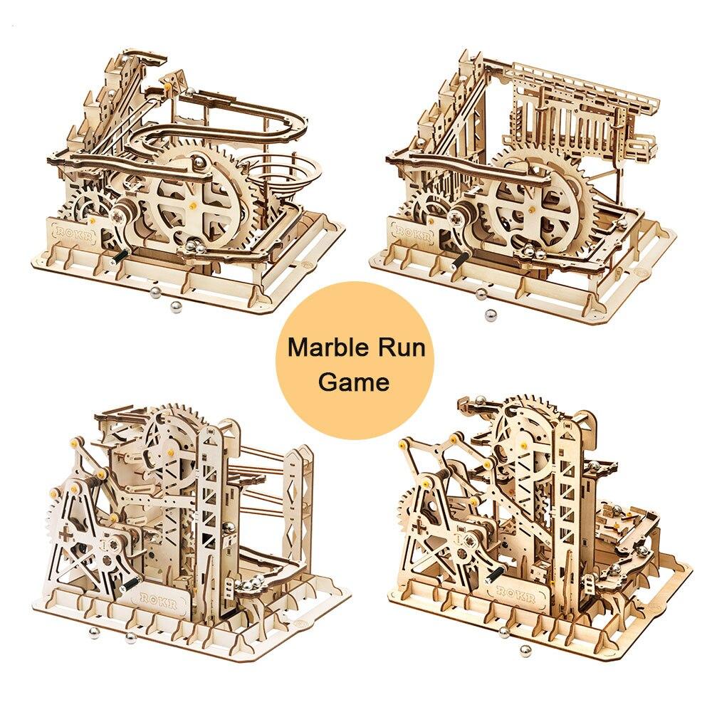 Diy estatuetas em miniatura de madeira decoração para casa artes artesanato 4 tipos bola de mármore corrida casa acessórios presentes para adultos
