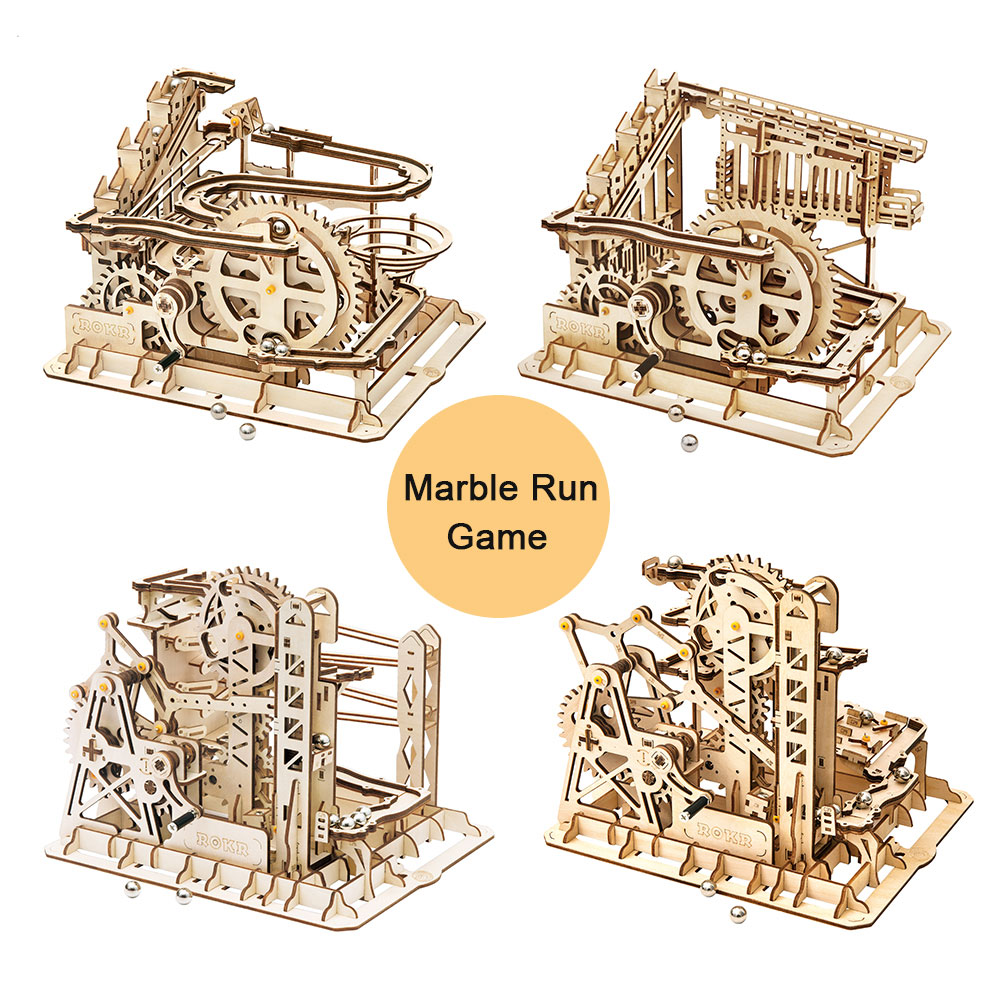 Robotime 4 Kinds Marble Run Game DIY Wooden Model Building Kits Assembly Toy For Children Birthday Gifts