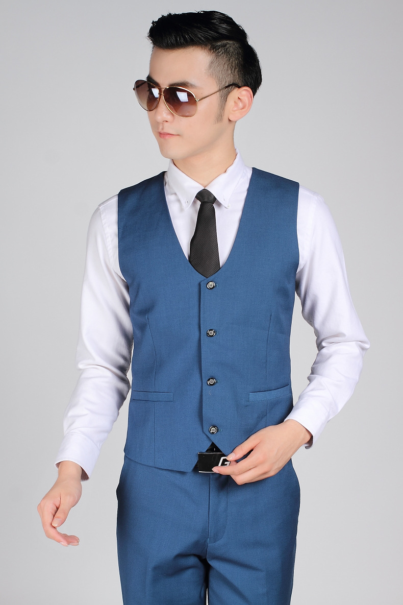 British Style Royal Blue Gentleman Vest Men Office Formal Business ...