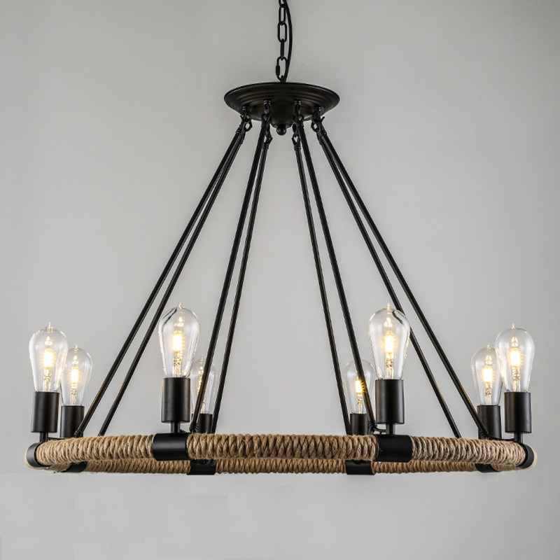 Retro Vintage big annular rope with metal support chandeliers Various Size Hardware lighting