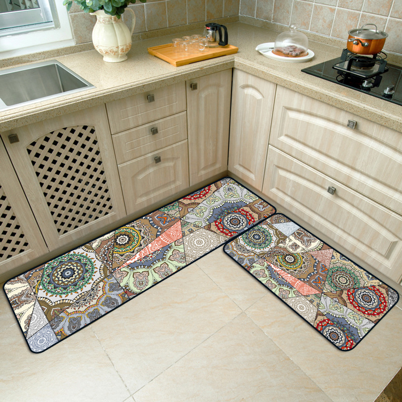 Bohemian national style Stitching kitchen strip anti-slip mat Bedroom bedside rug wooden floor printing plush carpet