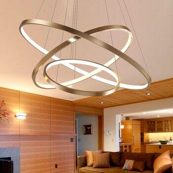 Siyah/Beyaz/Altın Modern kolye ışıkları oturma odası yemek odası için 4/3/2/1 daire Yüzük akrilik alüminyum gövde LED kolye Lamba