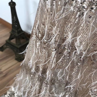 Exclusive Champagne Gold Embroidered High Quality African French Tulle Sequin Fabric With Feather X564 1