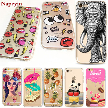 Cute Animals Panda Girls Case for iphone 7 6 6s Plus 7Plus 6Plus 5 5s SE soft silicone landscape lips Macaron dessert Cover bag