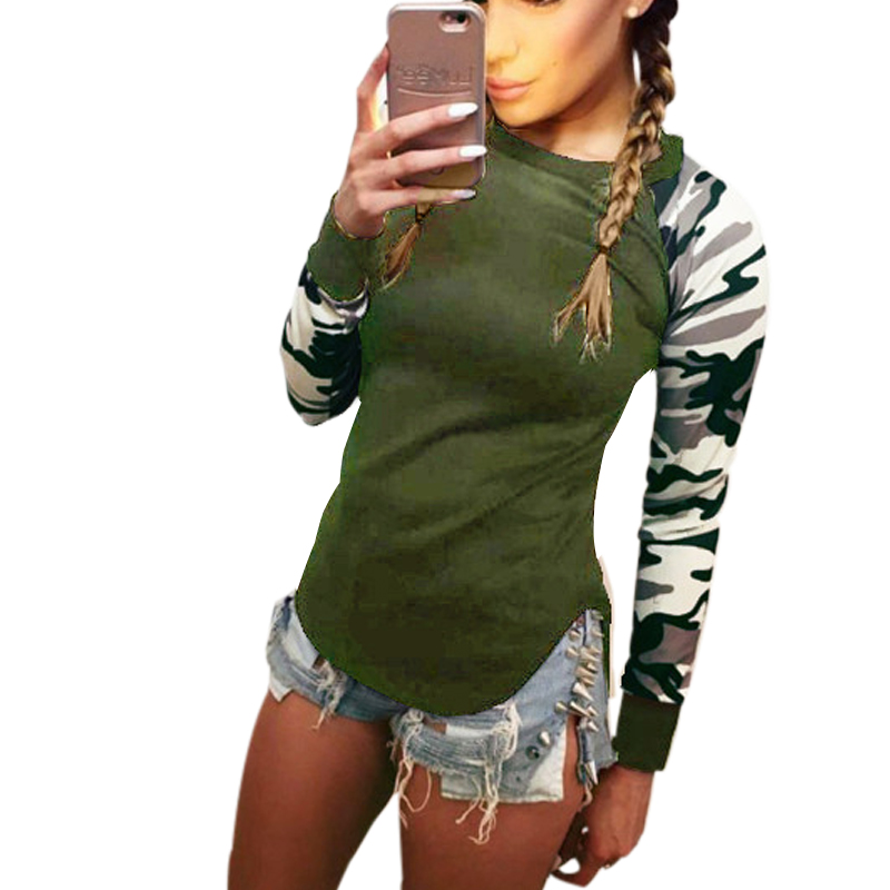 UK Womens Blouse Camo Asymmetric Pullover Tops Tee Long Sleeve Ladies T Shirt