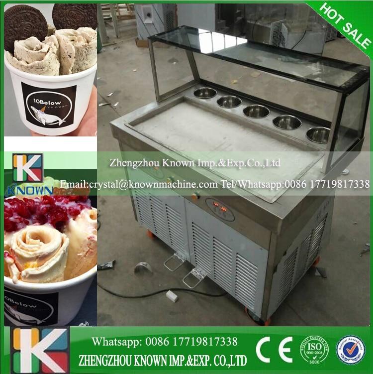Avec le réfrigérant R410A 110 v/220 v/60Hz commercial thaïlande plat simple casserole avec 5 réservoirs de refroidissement frite machine à crème glacée