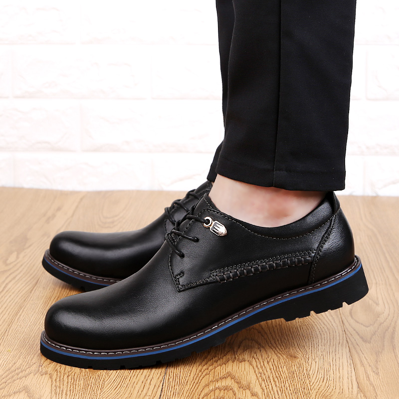 New Men casual shoes Genuine Leather male leisure lace up soft leather non slip shoes man