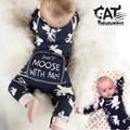 Bebê recém-nascido menino trajes de roupas de primavera 2017 do bebê de manga longa de natal elk casual macacão de algodão do bebê menino romper