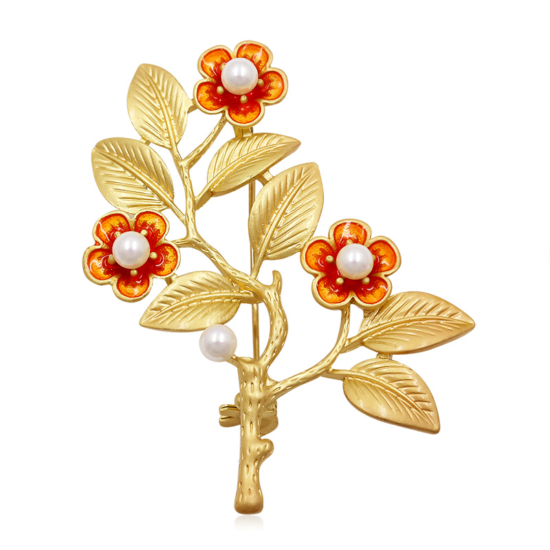 baiduqiandu Factory Direct Sale Beautiful Enameled Leaf and Flower Floral Brooches for Women Fashion Ornament Jewelry