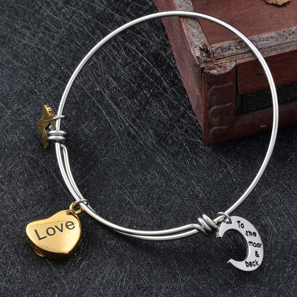 CJB0001 Handmade DIY Wire Bangles/Bracelets With I Love You To Moon&Back Cremation Urns Charms Keepsake Pendant