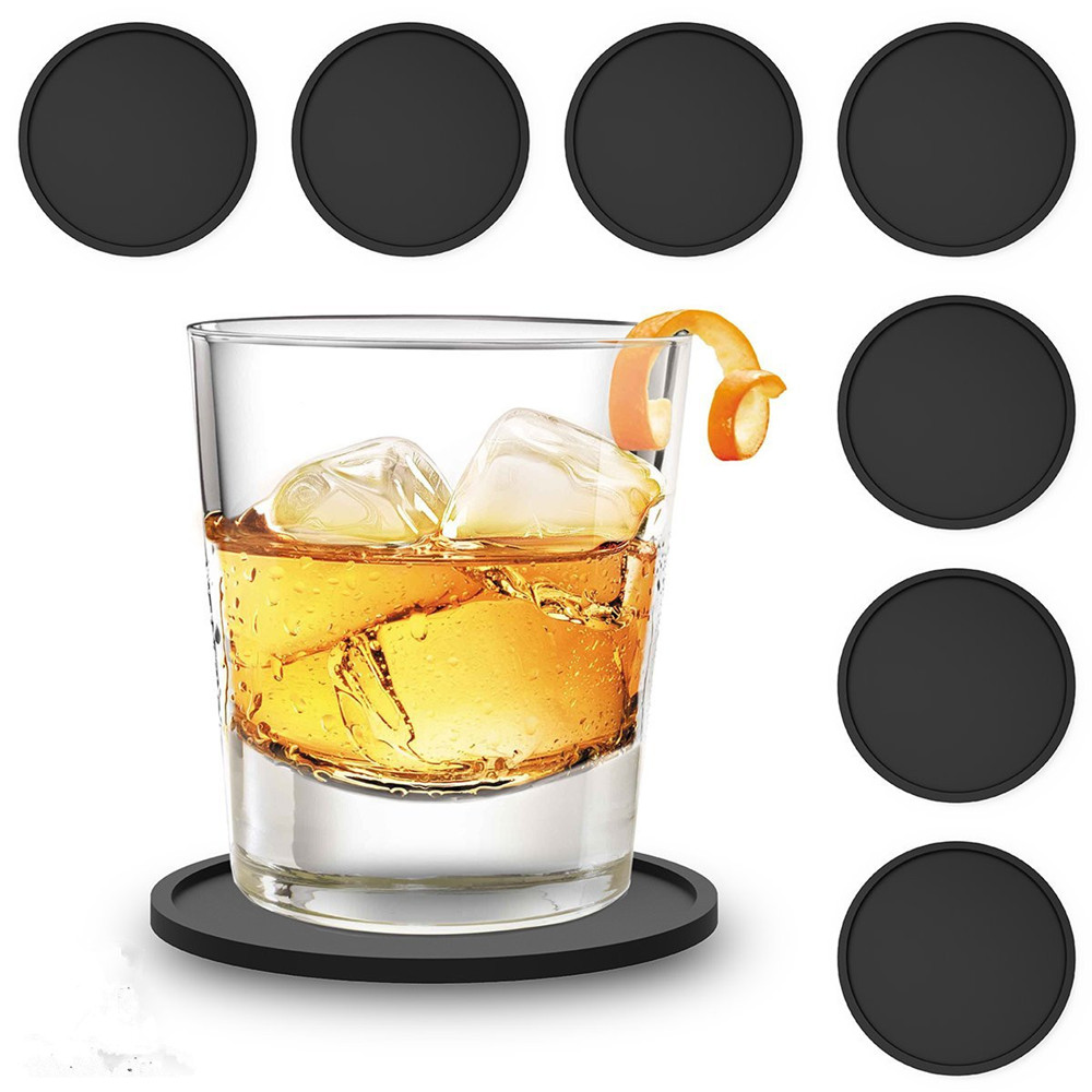 Realand Simple Modern 4/6/8Pcs Silicone Coaster Thick Cup Mug Glass Bottle Placemats Nonslip Table Mat Dishwasher Safe Pad
