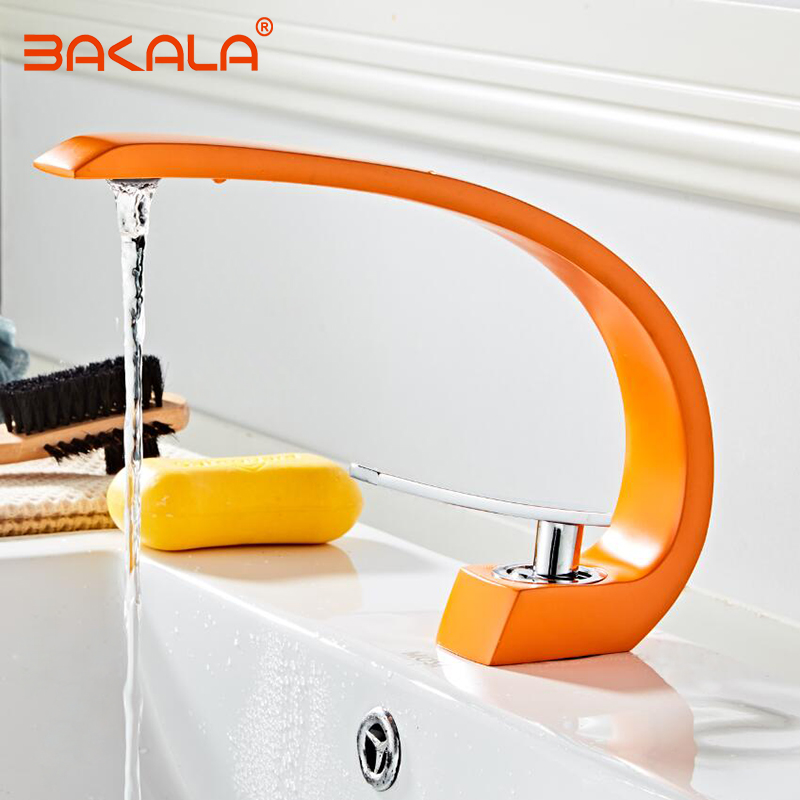 Bathroom Sink Basin Faucet Deck Mount Bright Orange Washing Basin Mixer Water Taps Creative Hot Cold
