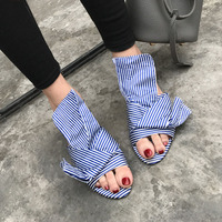 2017 Fashion Trend Party Beach Dress Shoes Women High Quality Flat Slides Bowtie Embellished Sandals Wholesale Drop Shipping