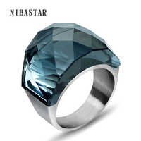 Mode Frauen Luxus Marke Big Kristall Schmuck Ring Für Frauen Hohe Qualität 316L Edelstahl Hochzeit Ringe Mit Steinen