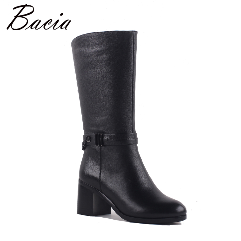 Bacia Vintage Women Leather Boots Retro Chain Shoes Wool fur & Short plush Boots Ladies Mid-Calf Genuine Leather Boots SB066 stylish women s mid calf boots with solid color and fringe design