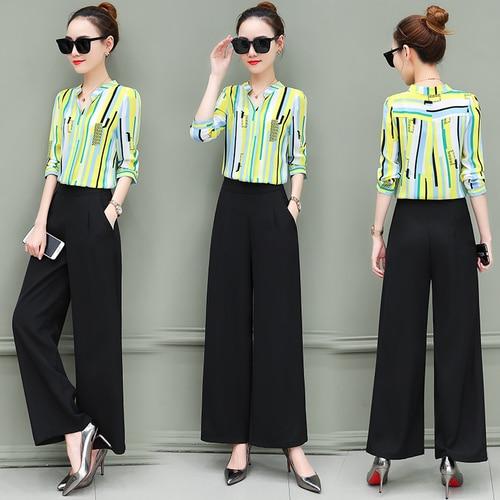 New OL suits 2018 summer Korean fashion stripe chiffon blouse top & wide-legged pants two pcs clothing set lady outfit S-4XL 3