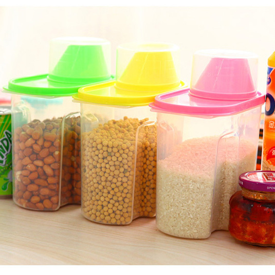 Useful Kitchen Food Storage Bottle Grains Plastic Jar With A Cover Easy To Pour Stuff