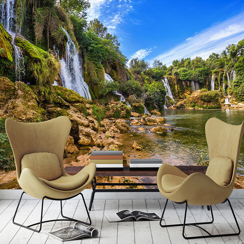 Custom 3D Photo Wallpaper Waterfall Landscape Large Mural Wallpaper For Living Room Background Wall Covering Papel De Parede 3D custom photo wallpaper 3d walking landscape murals for the living room bedroom tv background wall waterproof papel de parede
