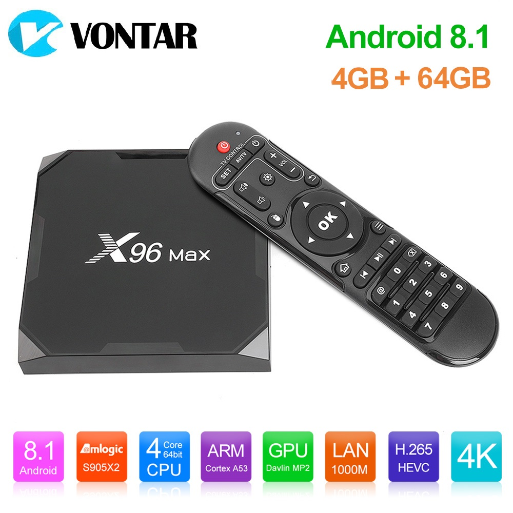 Android 8,1 caja de TV X96MAX Amlogic S905X2 4 GB 64 GB Quad Core 2,4G y 5 GHz Wifi 1000 M H.265 4 K Media Player Smart Set Top Box X96.