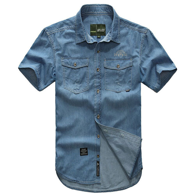 Plus Size XXXXXL Summer Mens 100% Cotton Denim Dress Shirts Color Short Sleeve Shirts Casual Deep Blue Man Brand CLOTHES 5008