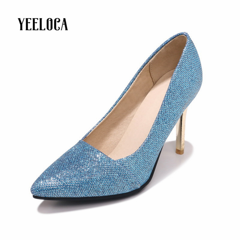 YEELOCA 2019 spring autumn women pumps pointed toe bling fashion super high thin heels gold party woman shoesYEELOCA 2019 spring autumn women pumps pointed toe bling fashion super high thin heels gold party woman shoes