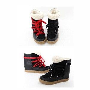 Image 5 - Glimlach Cirkel 2019 Winter Schoenen Voor Vrouwen Lace Up Wedge Laarzen Vrouwen Hoge Hak Lift Schoenen Enkellaarsjes warm Pluche Snowboots