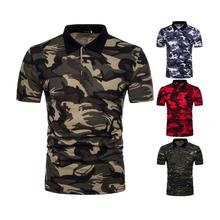 ZOGAA Brand men polo shirt streetwear Camouflage 4 colors military Casual mens clothing 2019 new S-2XL