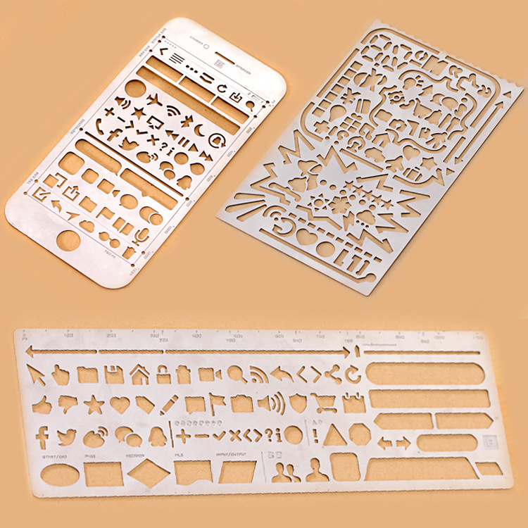 Creative Phone 6S WEB UI  Life Cutout Drawing Stencils Metal DIY Ruler Bookmark For Notebook Planner Sketch Stainless Steel