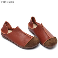 Whensinger Hot Sale Genuine Leather Women Shoes 2017 Fashion Lace up Casual Flat Shoes Peas Non Slip Outdoor Shoes