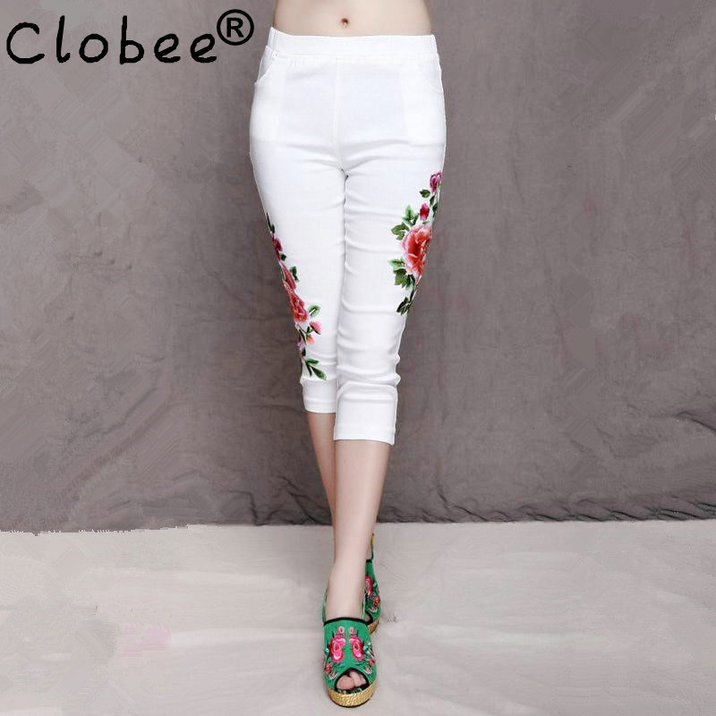 Popular White Flower Capri Pants-Buy Cheap White Flower Capri ...