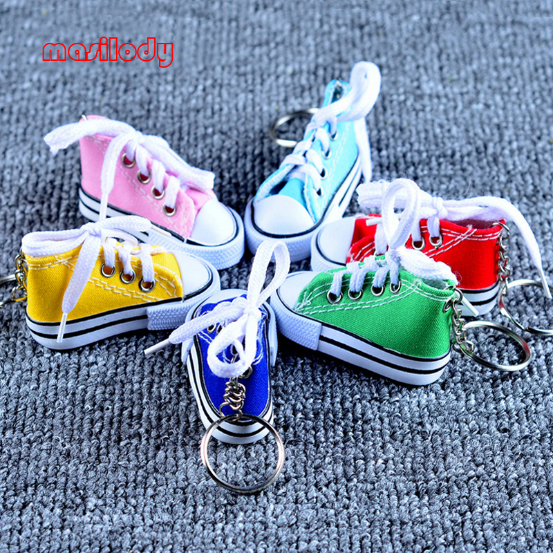 100pcs Lot Mini Hi Top Canvas Sneaker Tennis Shoes keychains Sport Shoes Keyring Doll Shoe Key